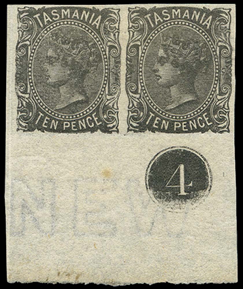 TASMANIA 1870  SG131a Mint 10d black imperf pair with plate number