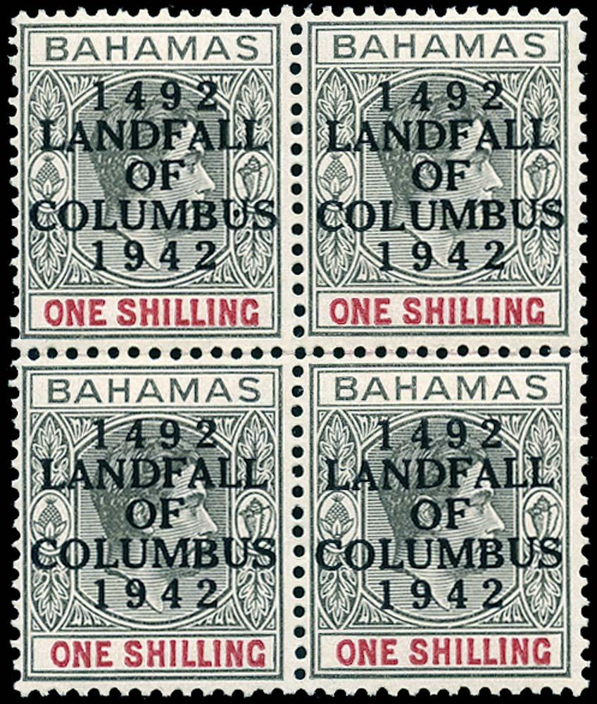 BAHAMAS 1942  SG171b Mint Landfall of Columbus 1s variety Dot in U