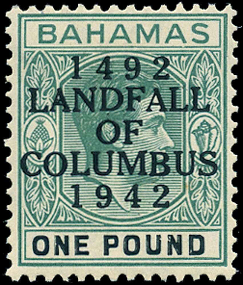 BAHAMAS 1942  SG175 Mint Landfall of Columbus £1 R1/1 intermediate setting