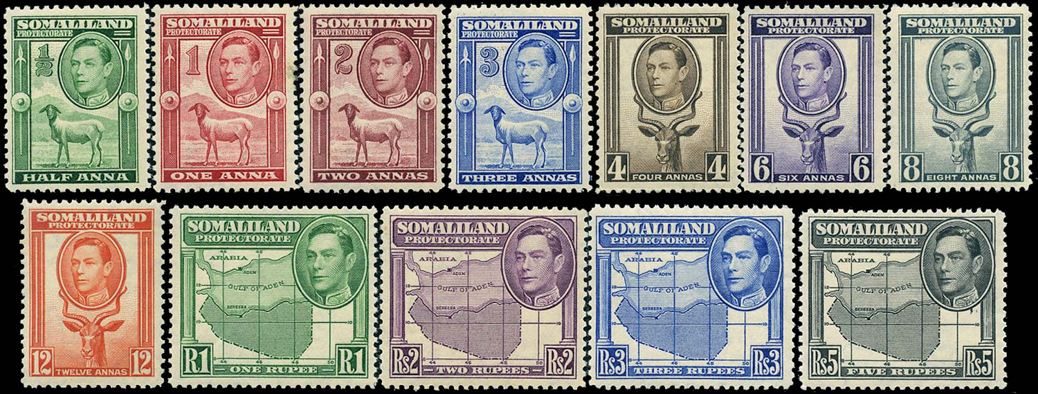 SOMALILAND PROTECT 1938  SG93/104 Mint KGVI set of 12 to 5r unmounted