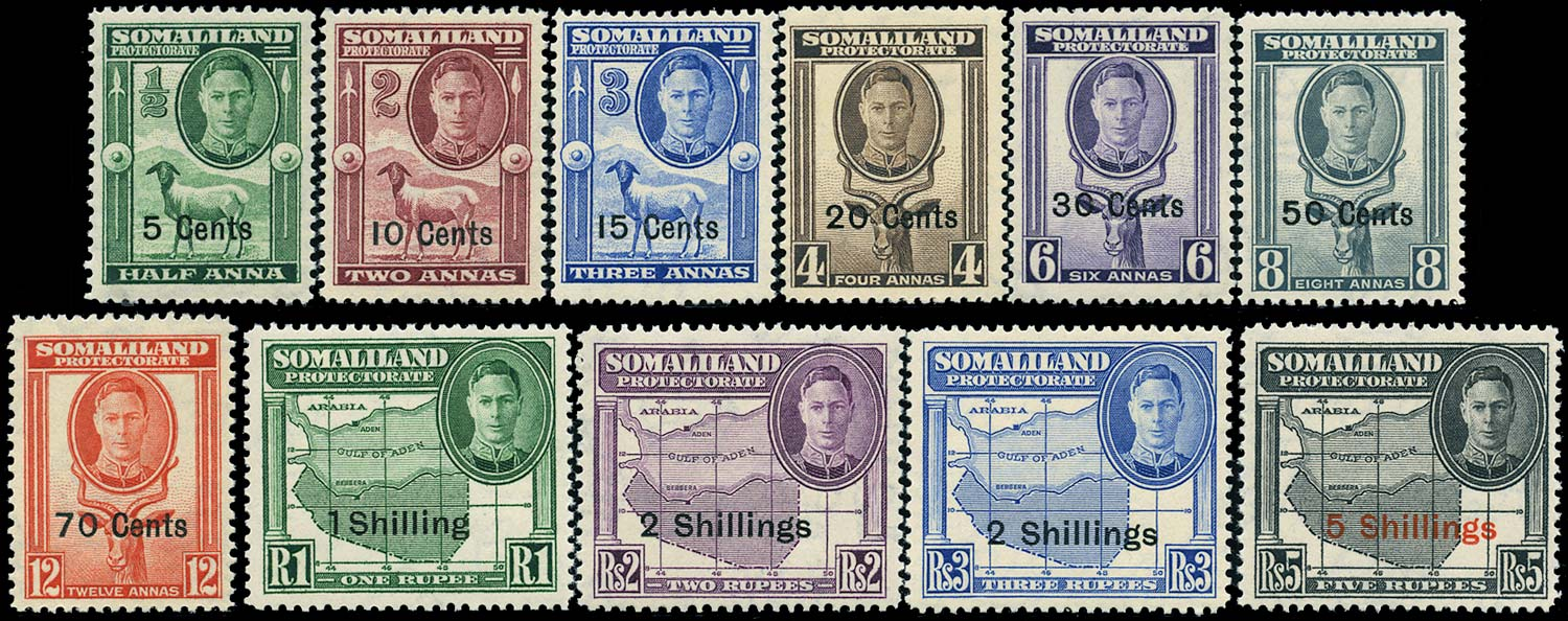 SOMALILAND PROTECT 1951  SG125/35 Mint New currency set of 11 unmounted