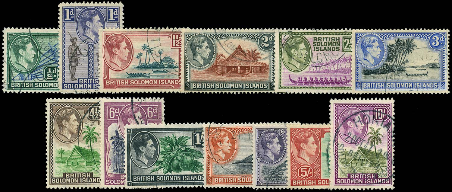 SOLOMON ISLANDS 1939  SG60/72 Used KGVI set of 13 to 10s