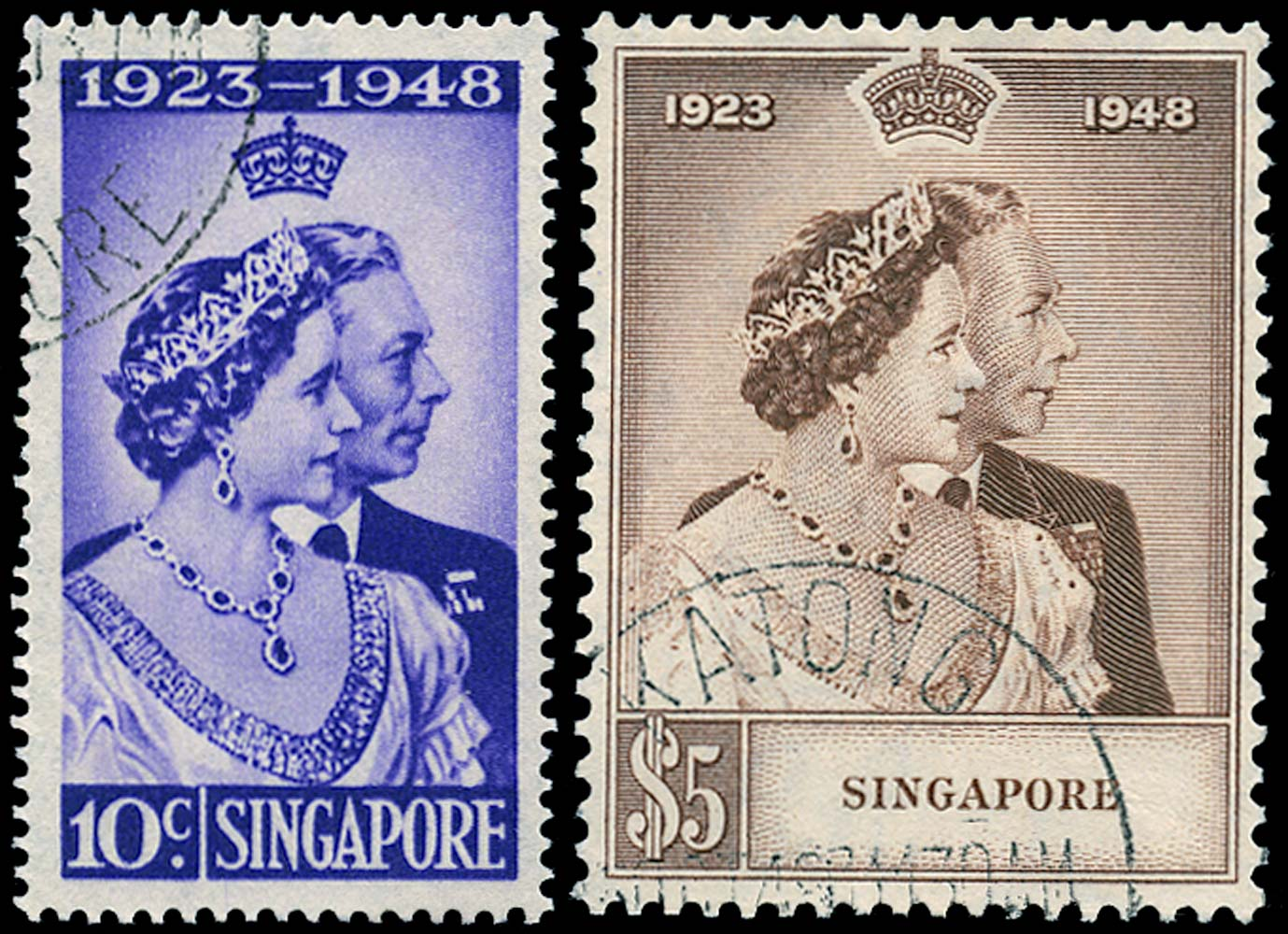 SINGAPORE 1948  SG31/2 Used Royal Silver Wedding 10c and $5