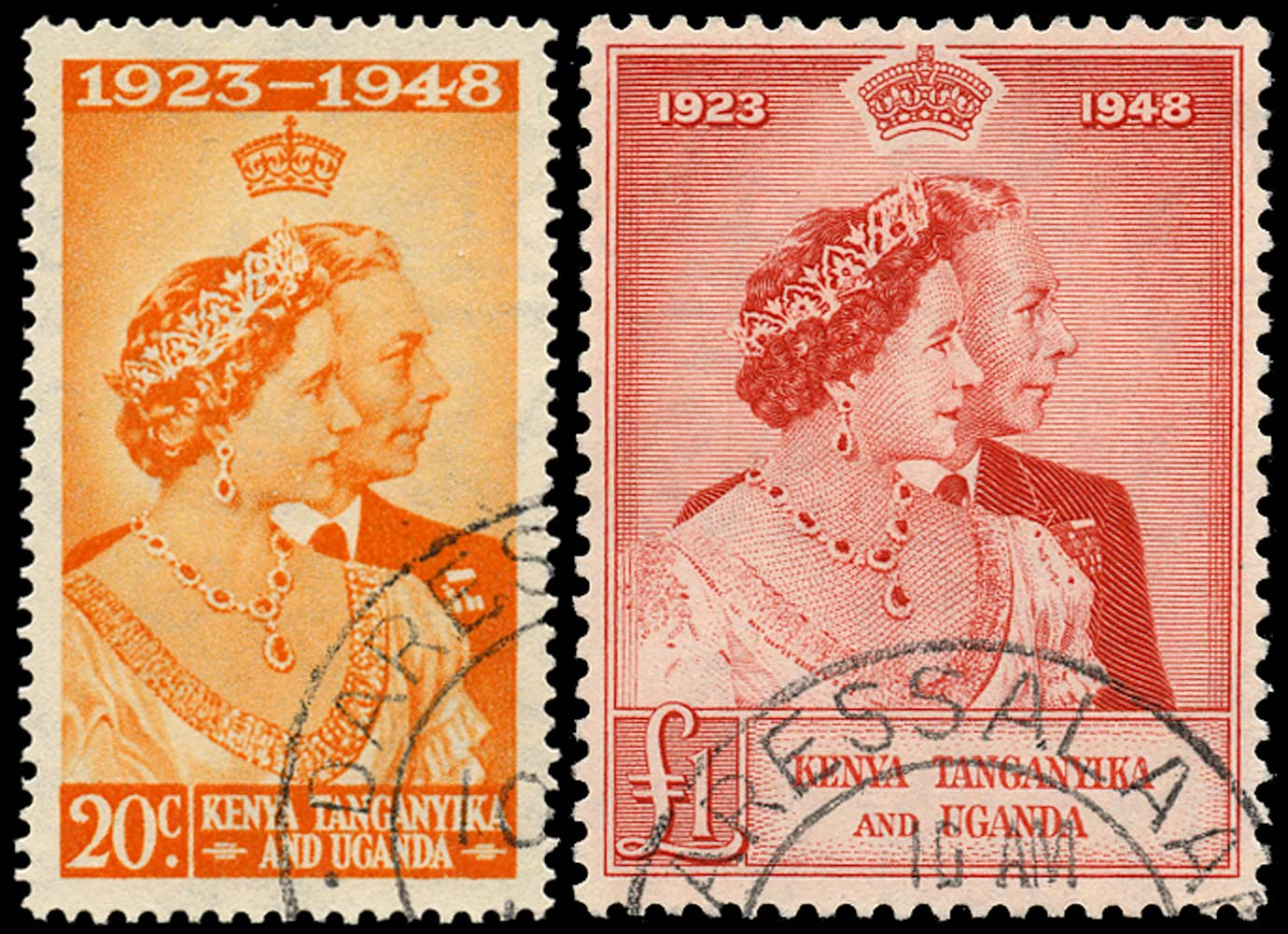 KUT 1948  SG157/8 Used Royal Silver Wedding 20c and £1