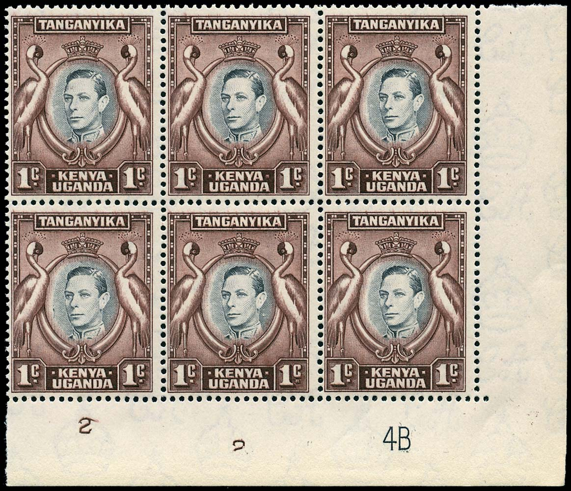 KUT 1942  SG131af Mint 1c plate block of 6 variety Tadpole flaw