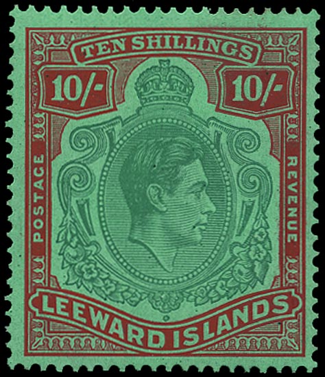 LEEWARD ISLANDS 1943  SG113b Mint 10s green and red on green paper unmounted