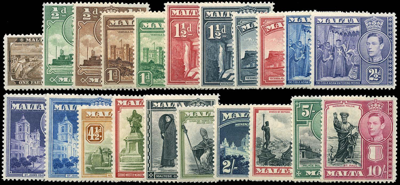 MALTA 1938  SG217/31 Mint KGVI set of 21 to 10s unmounted