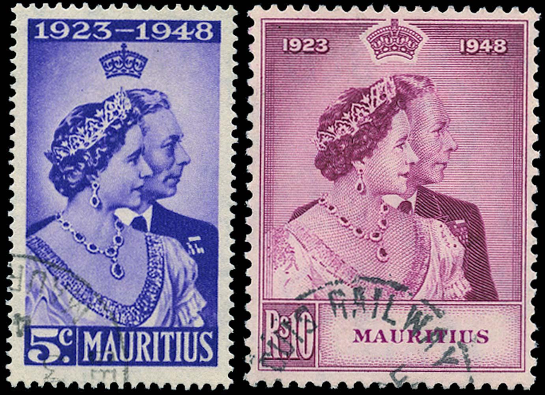 MAURITIUS 1948  SG270/1 Used Royal Silver Wedding 5c and 10r