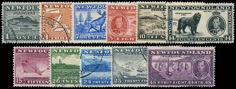 NEWFOUNDLAND 1937  SG257/67 Used Coronation long set of 11 to 48c