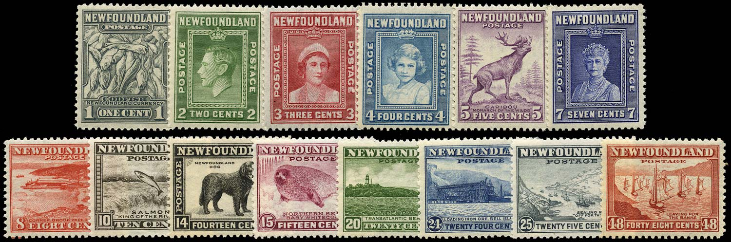 NEWFOUNDLAND 1941  SG276/89 Mint set of 14 to 48c Waterlow printing unmounted