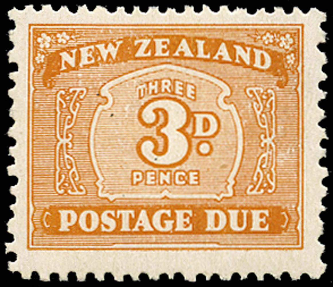 NEW ZEALAND 1943  SGD47 Postage Due 3d orange-brown wmk 98 UPRIGHT unmounted