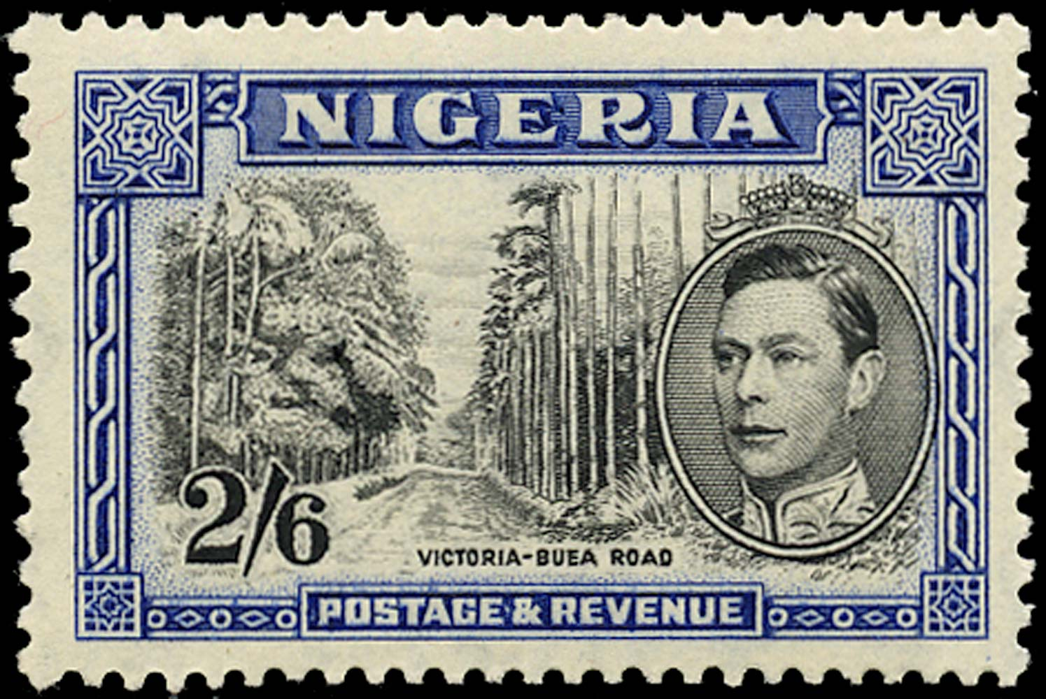 NIGERIA 1938  SG58 Mint 2s6d black and blue perf 13x11½ unmounted