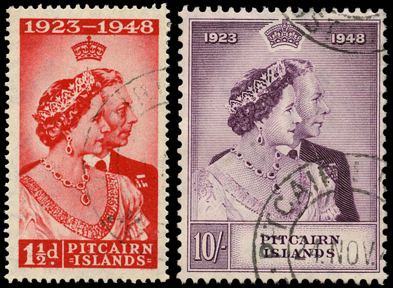 PITCAIRN ISLAND 1949  SG11/12 Used Royal Silver Wedding 1½d and 10s