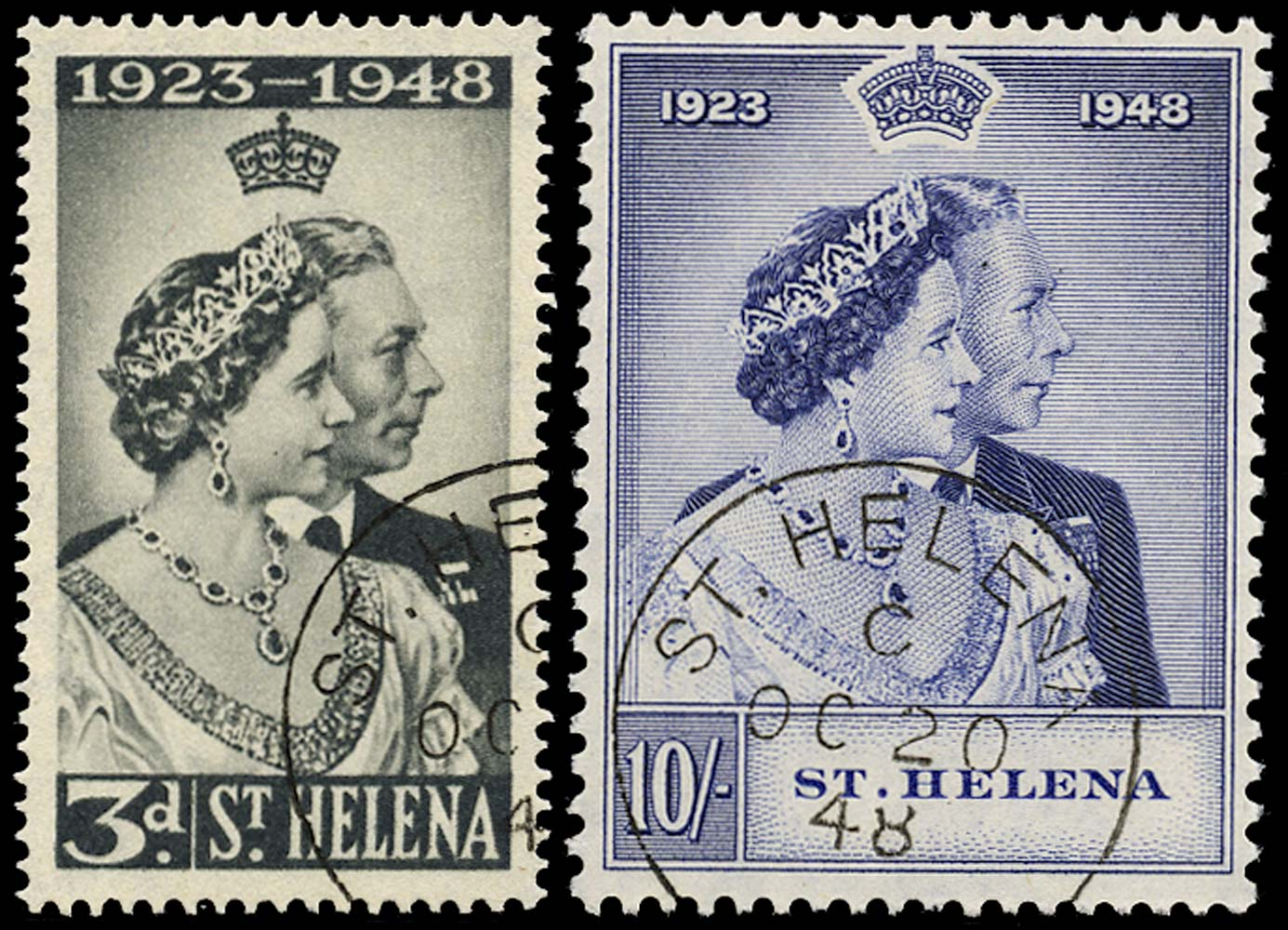 ST HELENA 1948  SG143/4 Used Royal Silver Wedding 3d and 10s