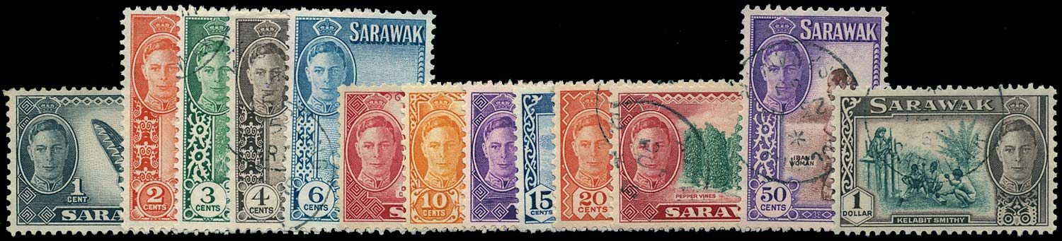 SARAWAK 1950  SG171/85 Used KGVI set of 15 to $5