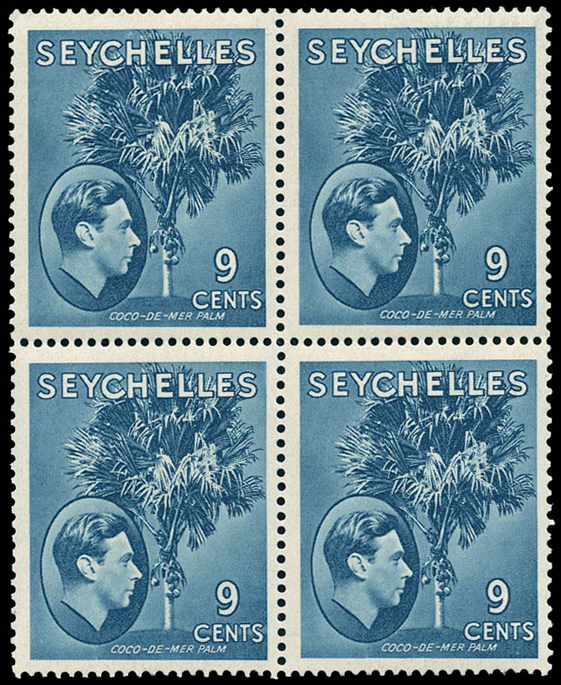 SEYCHELLES 1941  SG138a Mint KGVI 9c grey-blue on chalk-surfaced paper