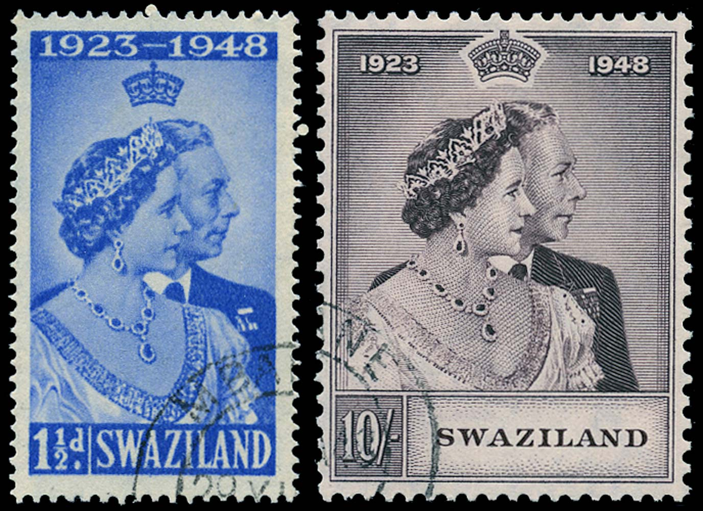 SWAZILAND 1948  SG46/7 Used Royal Silver Wedding 1½d and 10s