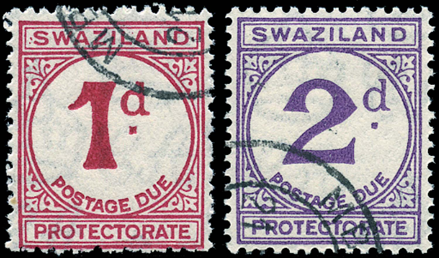 SWAZILAND 1933  SGD1/2 Postage Due 1d and 2d on rough paper 1946 printing