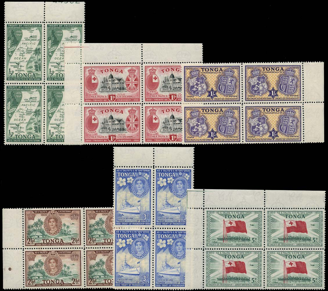 TONGA 1951  SG95/100 Mint Treaty of Friendship set of 6 to 1s