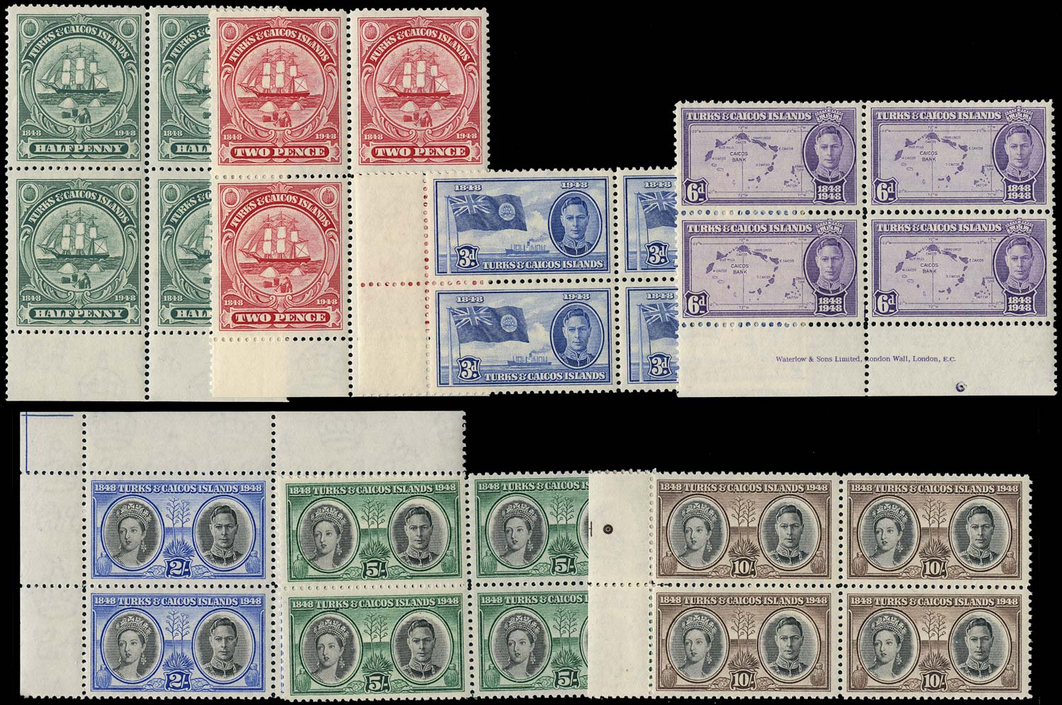 TURKS & CAICOS IS 1948  SG210/6 Mint Centenary of Separation set of 7 unmounted