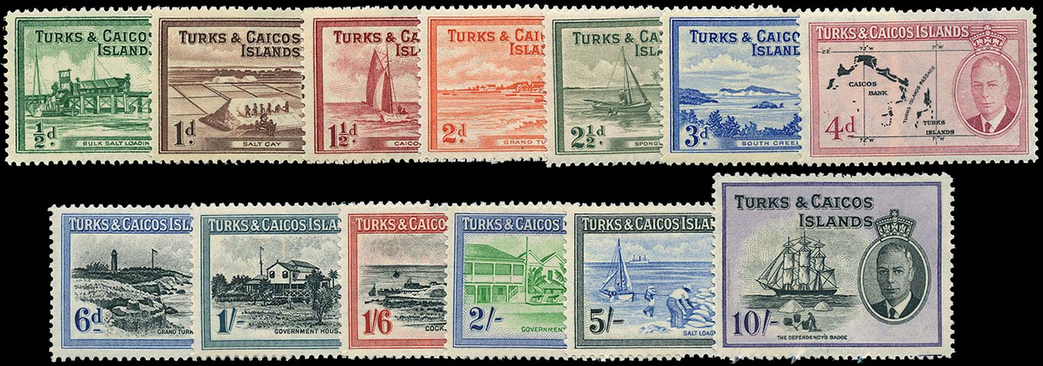 TURKS & CAICOS IS 1950  SG221/33 Mint KGVI set of 13 to 10s unmounted
