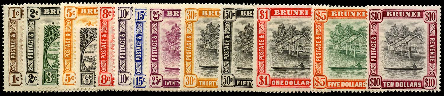 BRUNEI 1947  SG74/92 Mint KGVI set of 14 to $10 unmounted