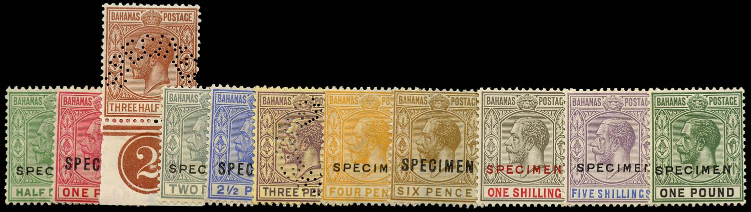 BAHAMAS 1921  SG115s/25s Specimen set of 11 to £1 watermark Script