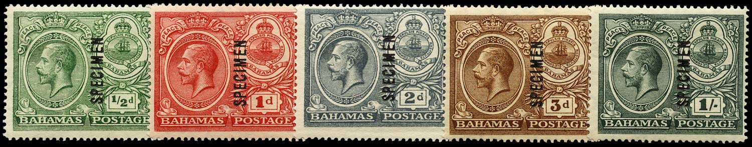 BAHAMAS 1920  SG106s/110s Specimen Peace set of 5 to 1s