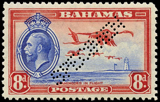 BAHAMAS 1935  SG145s Specimen KGV 8d Flamingos and Lighthouse