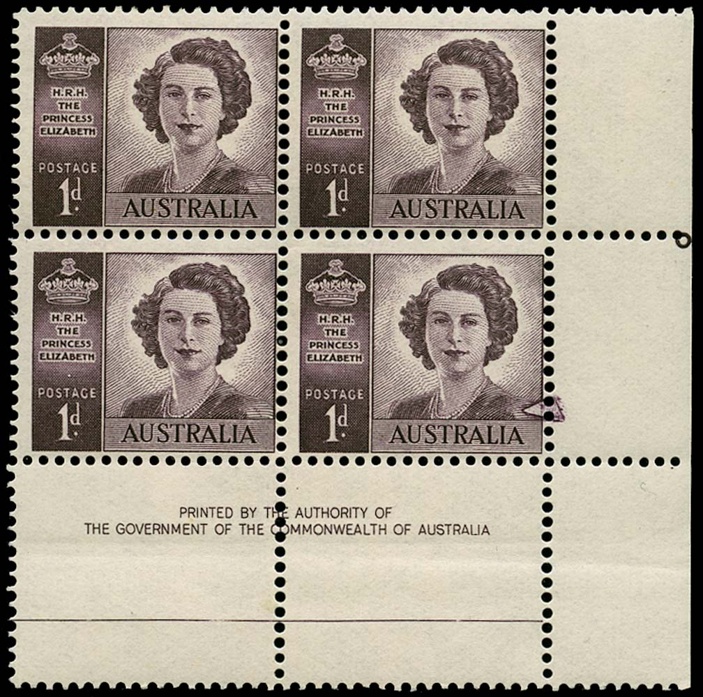 AUSTRALIA 1952  SG222c var Mint 1d coil perf block of 4 with prominent flaw