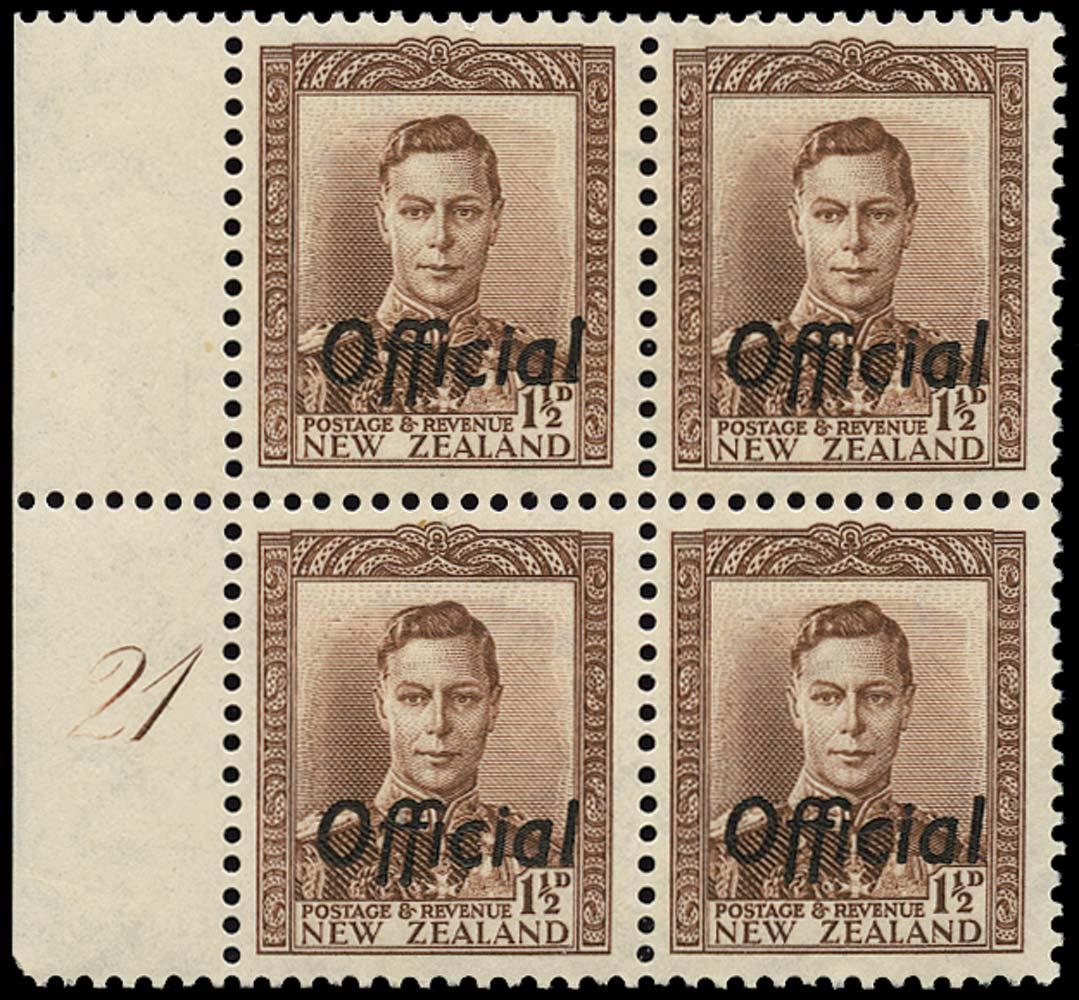 NEW ZEALAND 1938  SGO138 Official