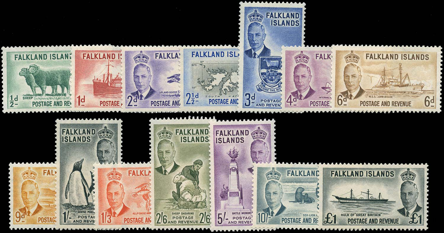 FALKLAND ISLANDS 1952  SG172/85 Mint KGVI set of 14 to £1 unmounted