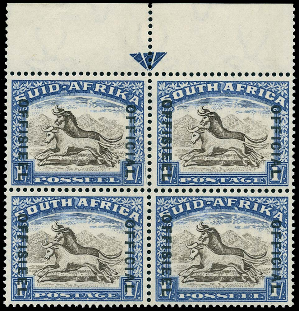 SOUTH AFRICA 1939  SGO25 Official 1s brown and chalky blue unmounted