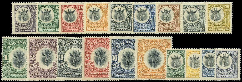 TANGANYIKA 1922  SG74/92 Mint