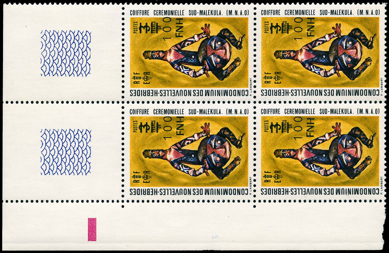 NEW HEBRIDES 1977  SGF247/55 var Mint French 100f on 3f unissued local surcharge