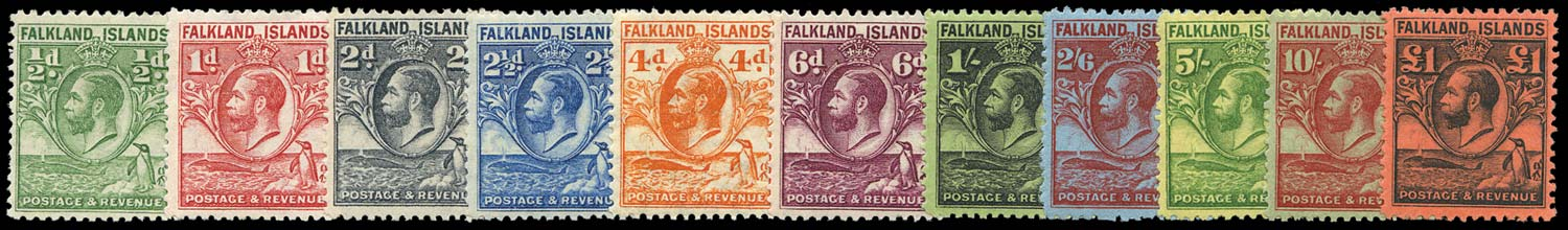FALKLAND ISLANDS 1929  SG116/26 Mint Whale and Penguin set of 11