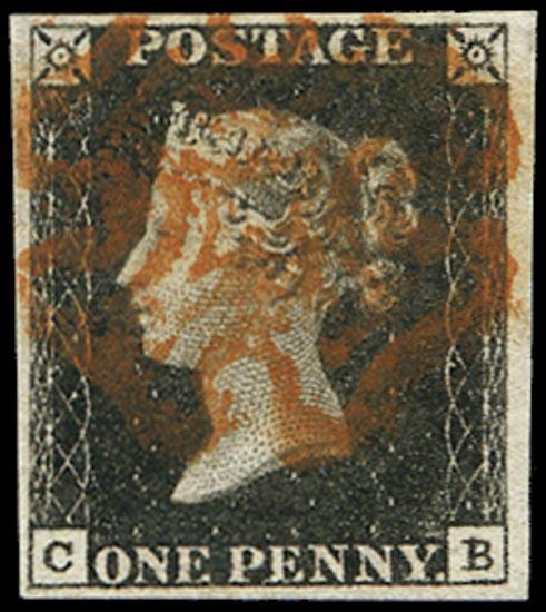 GB 1840  SG2 Pl.1b Penny Black VFU cancelled by a Red MC
