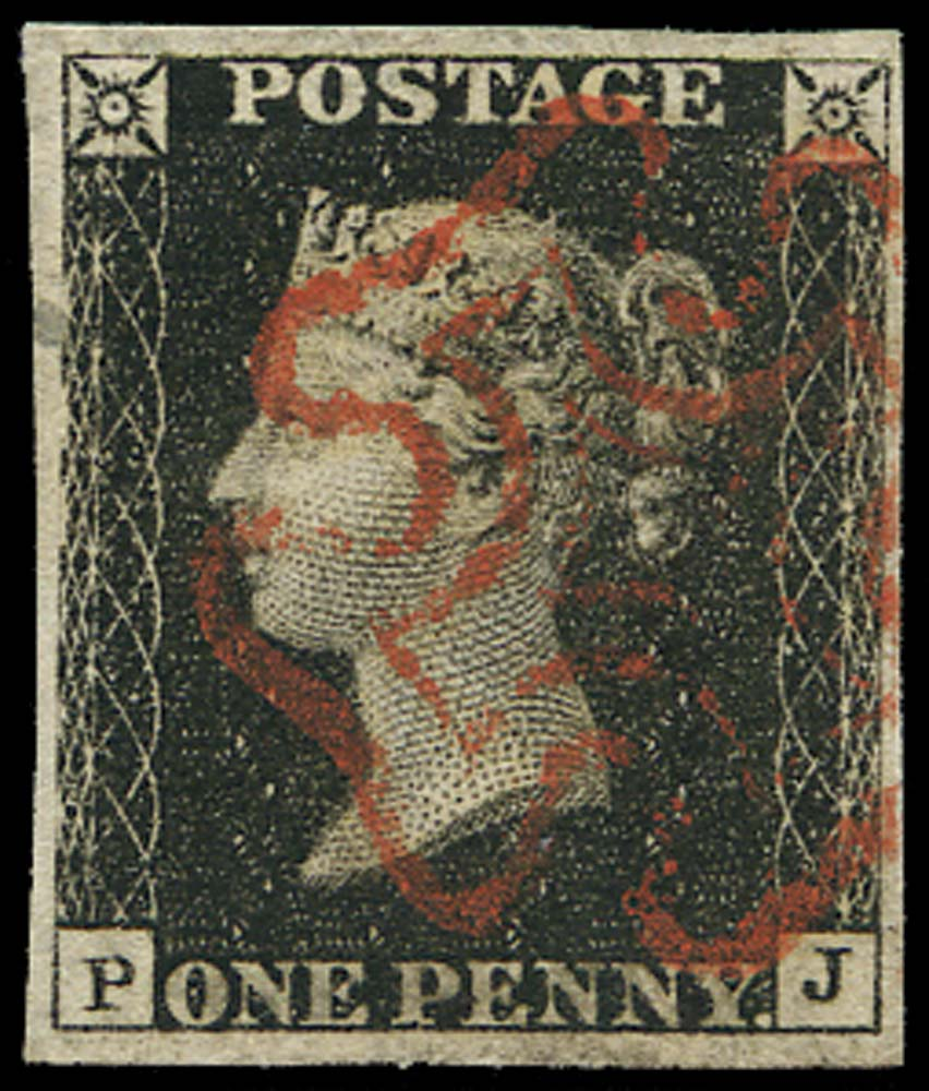 GB 1840  SG2 Pl.4 Penny Black VFU cancelled by a Red MC