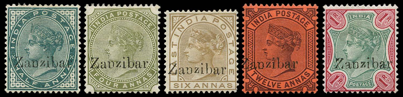 ZANZIBAR 1895  SG3B, 12/13B, 16B, 18B Mint