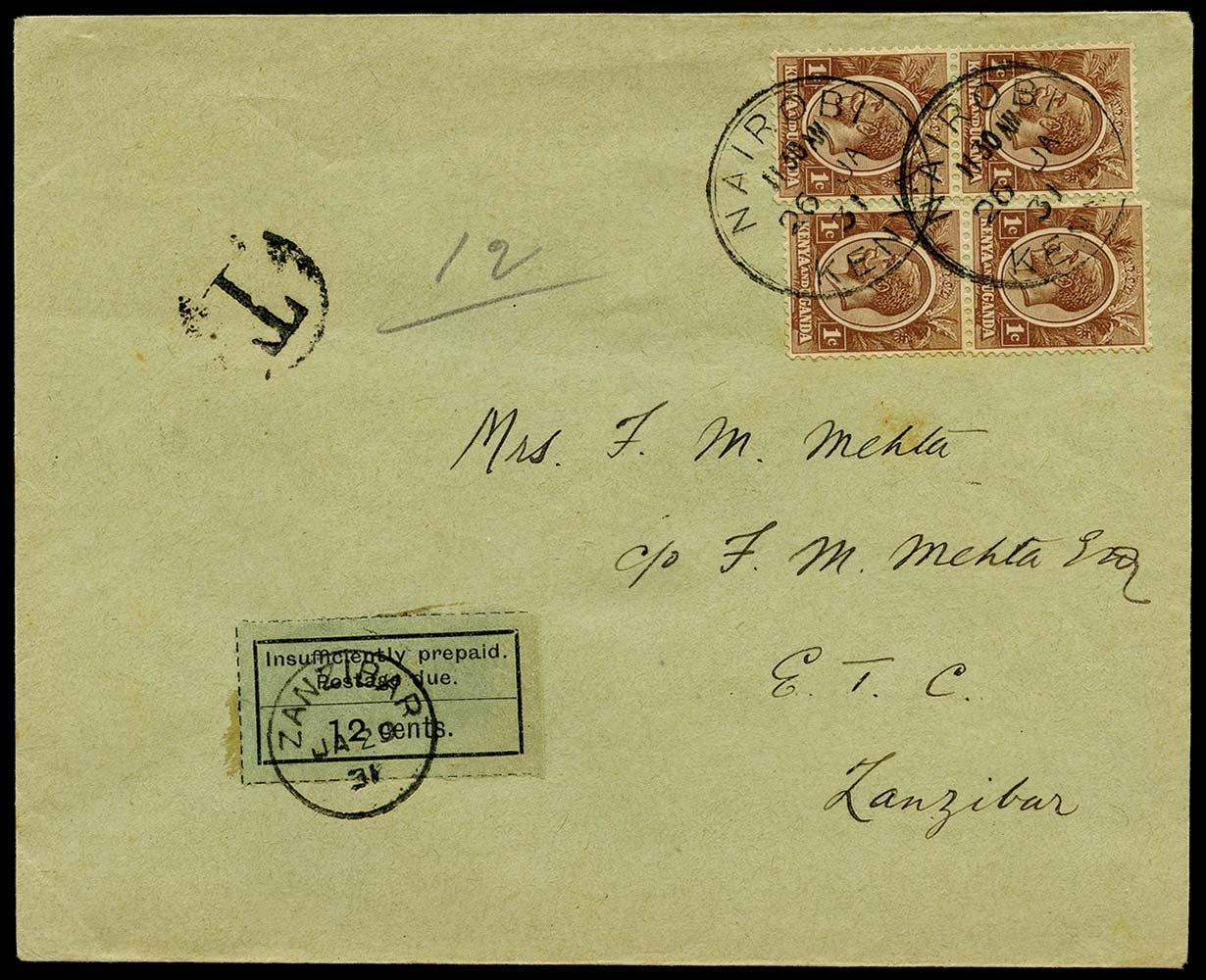 ZANZIBAR 1931  SGD7 Cover