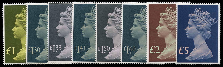 GB 1977  SG1026/8 Mint £1-£5 Machin High Values.