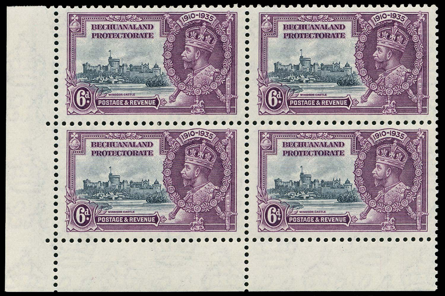 BECHUANALAND 1935  SG114/a Mint Silver Jubilee 6d with Extra Flagstaff