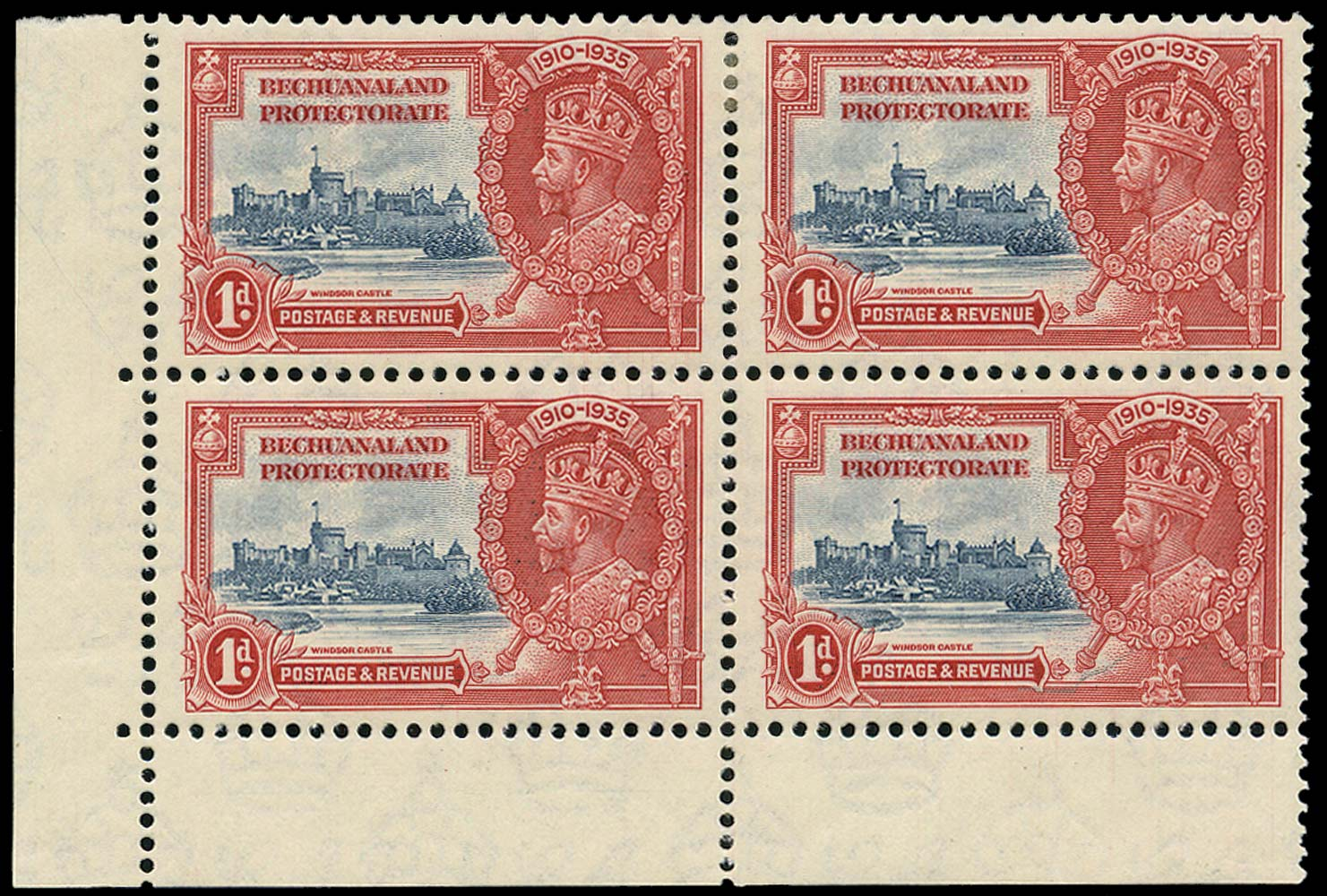 BECHUANALAND 1935  SG111/a Mint Silver Jubilee 1d with Extra Flagstaff