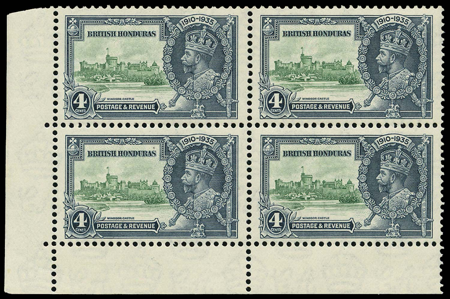 BRITISH HONDURAS 1935  SG144/a Mint Silver Jubilee 4c with Extra Flagstaff