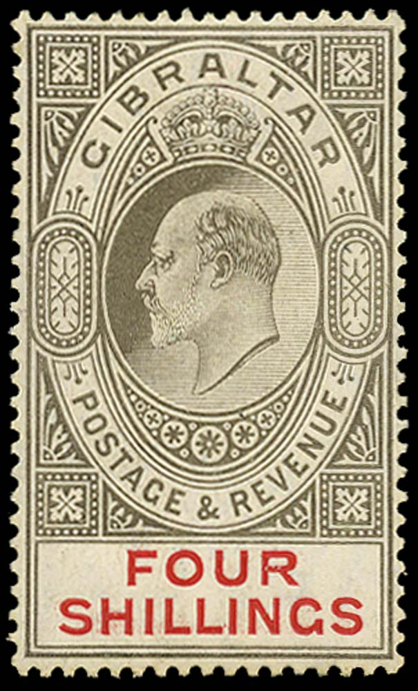 GIBRALTAR 1906  SG73x Mint 4s watermark reversed