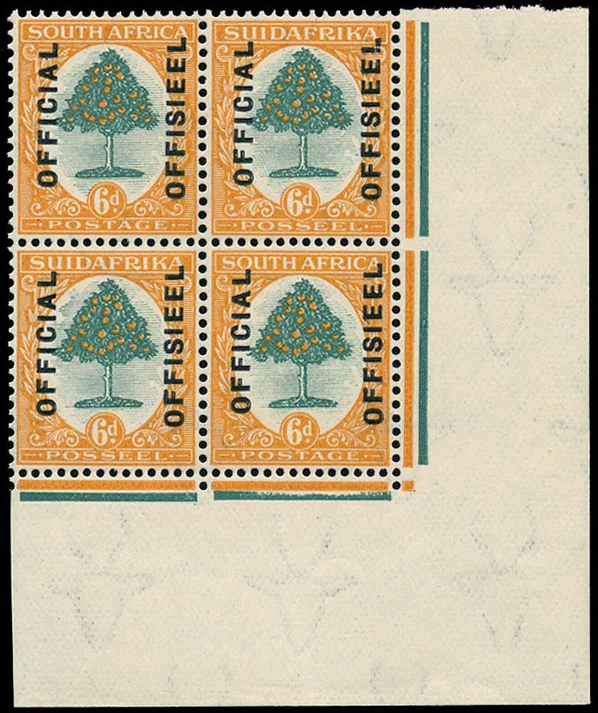 SOUTH AFRICA 1928  SGO6 var Official 6d overprint reading upwards no stops