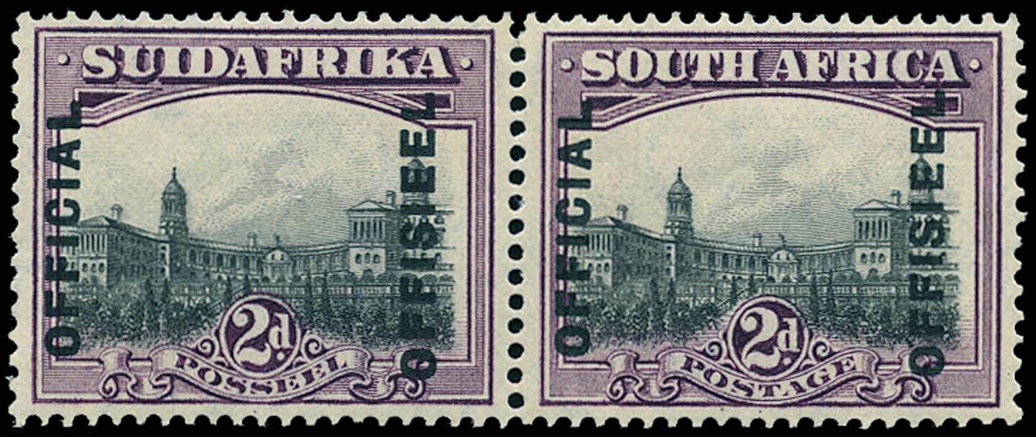 SOUTH AFRICA 1930  SGO5ac Official 2d grey and maroon perf 14x13½