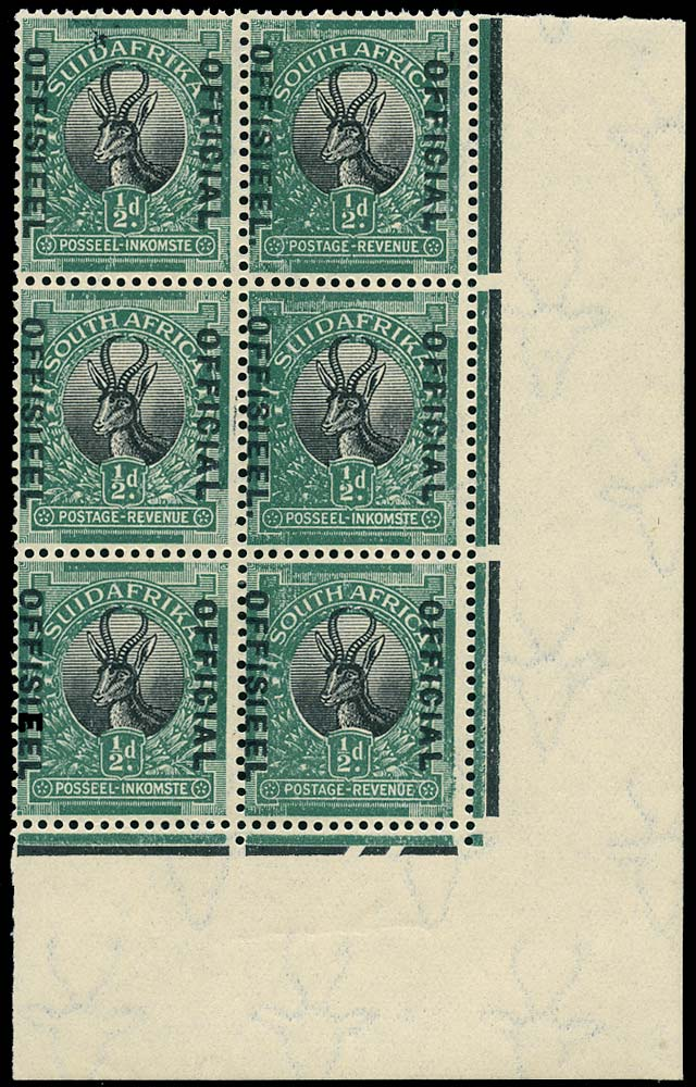 SOUTH AFRICA 1930  SGO7a/b Official ½d black and green Stop after OFFISIEEL