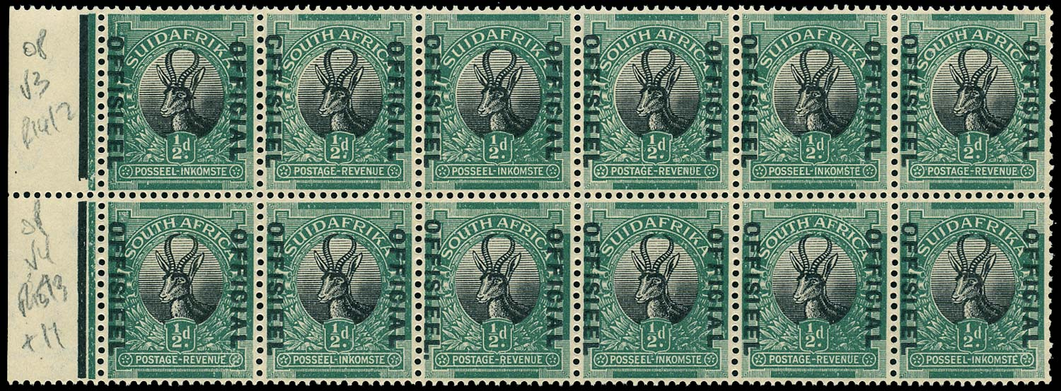 SOUTH AFRICA 1929  SGO7/a Official ½d black and green Stop after OFFISIEEL