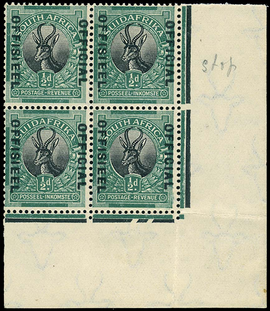 SOUTH AFRICA 1929  SGO7b Official ½d black and green Stop after OFFISIEEL